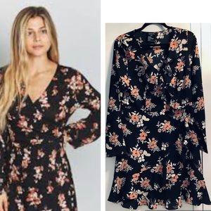 Guilty XL Surplice Crep Black Floral Dressing